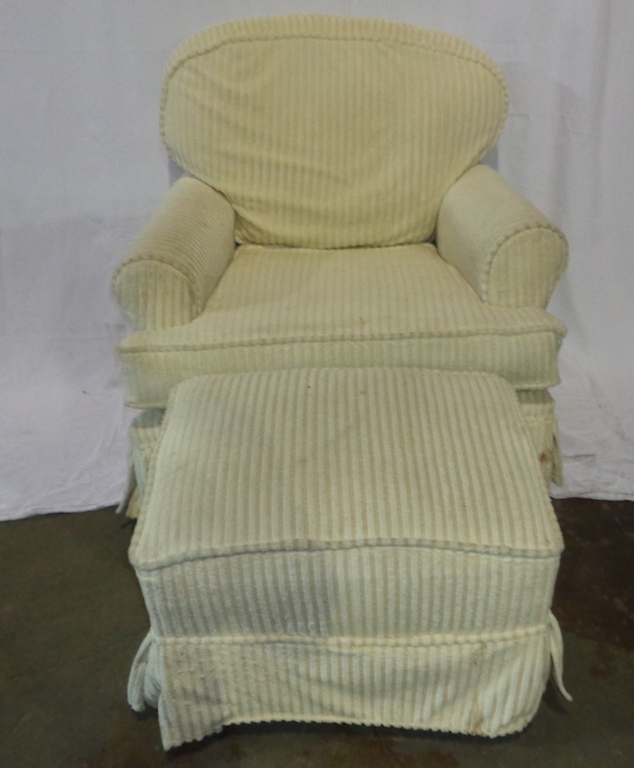 Upholstered Rocking Club Chair And Ottoman