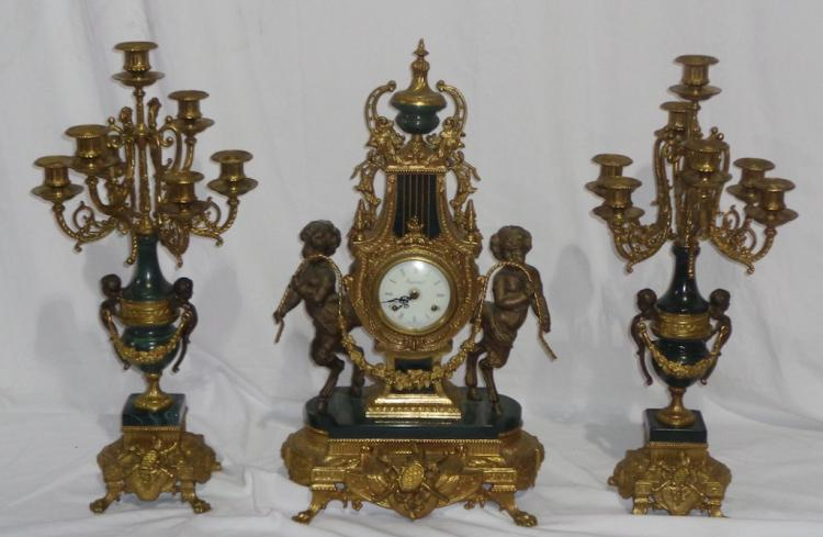 Set Of Of French Ormolu Candelabras & Mantel Clock