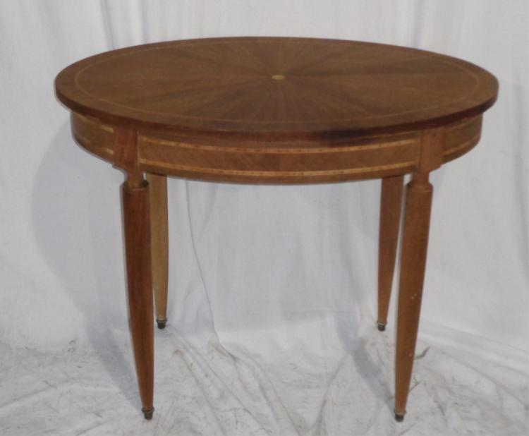 Antique French Oval Inlay Table