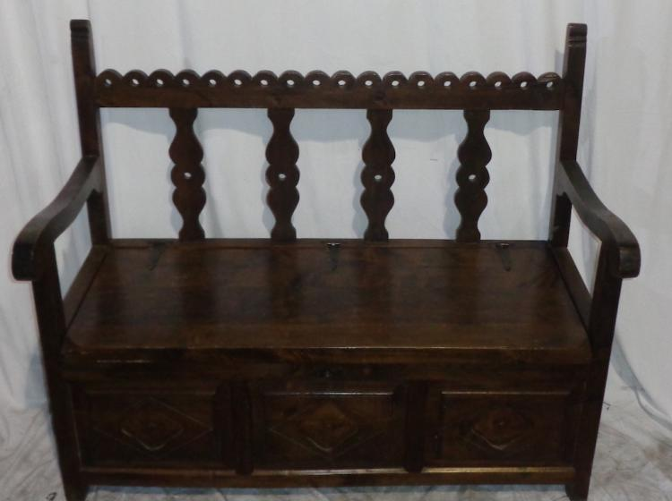 Carved French Breton Bench