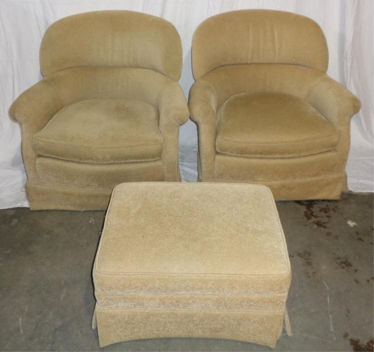 Pair, Upholstered Swiel Rocking Chairs W/ Ottoman