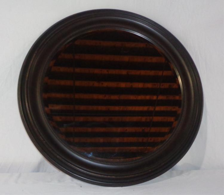 Black Frame Round Mirror