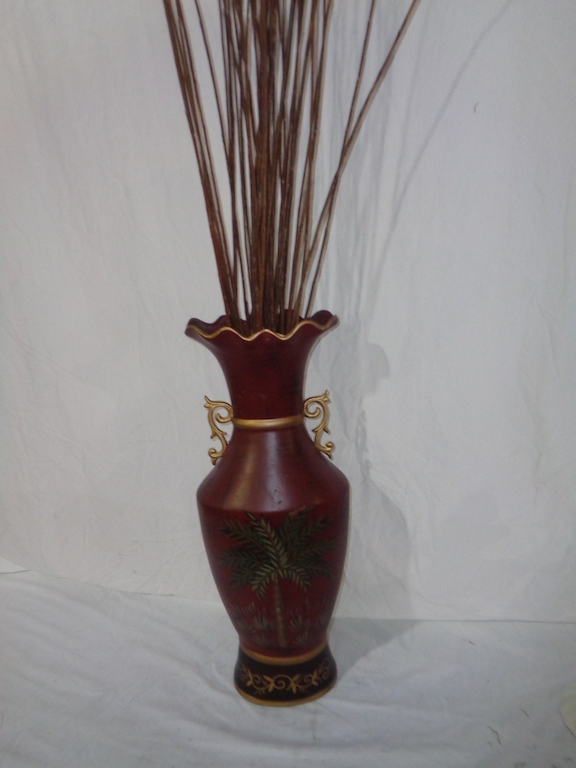 Burgundy & Gold Ceramic Vase