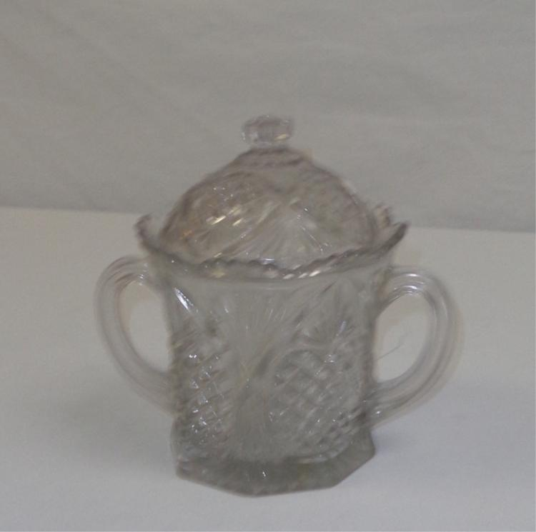 Cut Crystal Covered Sugar Dish