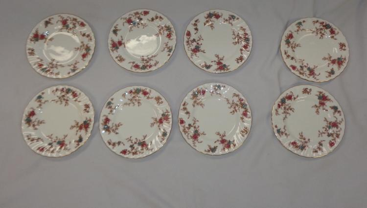 Eight Plates White With Orange And Brown Flowers