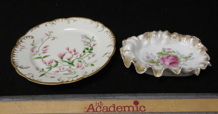 French Hand Painted China 2 Pieces
