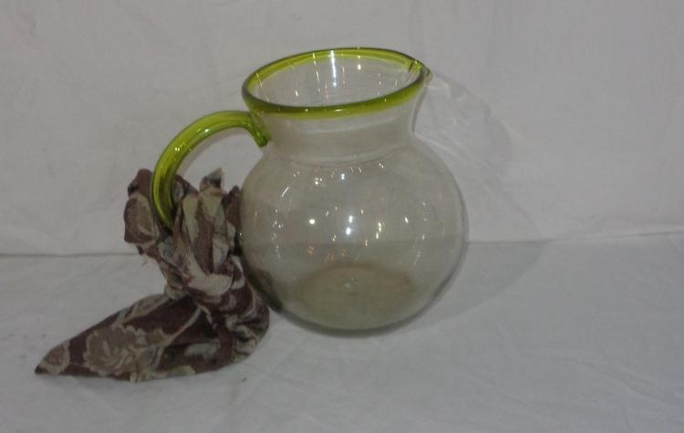 Glass Pitcher With Green Accents