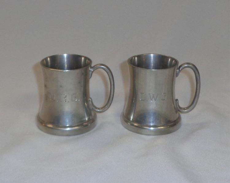 Pair Of  Miniature Pewter Mugs