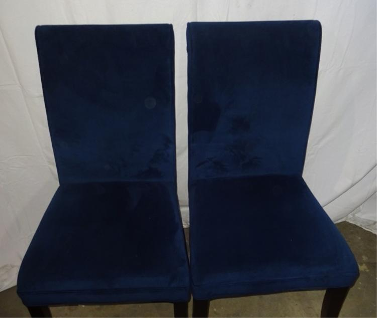 Pair Of Blue Micro Fiber Scroll Back Chairs
