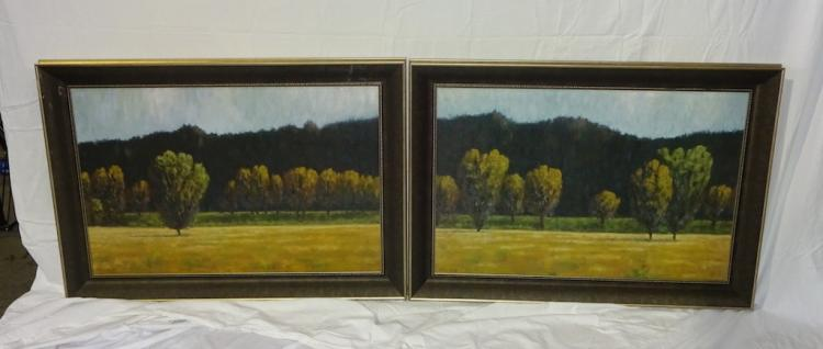 Pair Of Framed Prints On Canvas Trees In Field