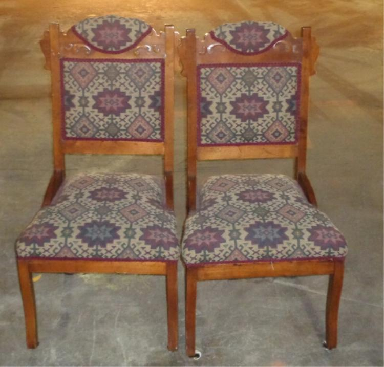 Pair Victorian Upholstered Side Chairs