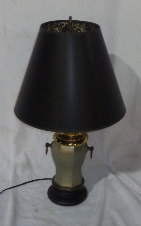 Pewter Colored Lamp With Black Shade
