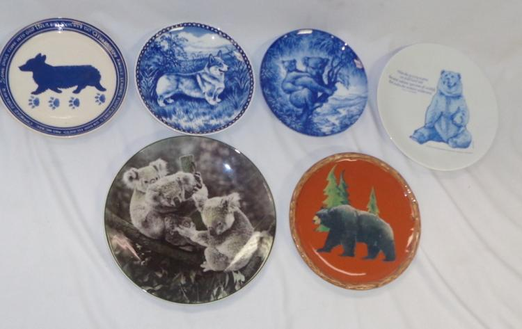 Set Of 6 Assorted Dog & Bear Plates