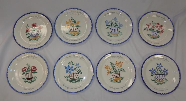 Set Of 8 French Flower Plates-heavy Plastic