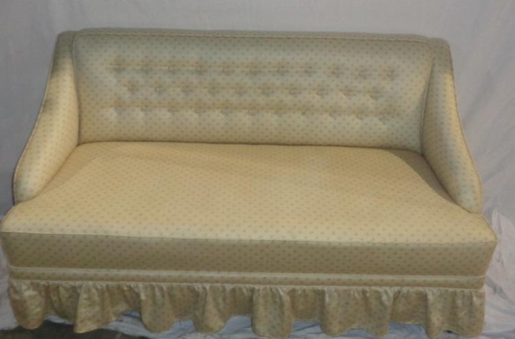 Small tufted back mid century sofa for Small tufted sofa