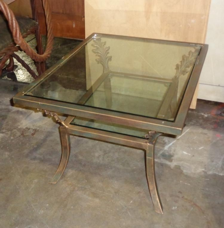 Very Heavy Metal & Glass Side Table