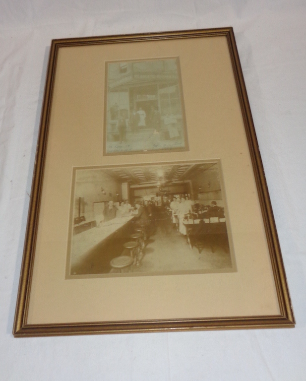 Vintage Framed Picture Of Cafe