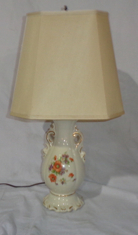 White Lamp With Orange Flowers