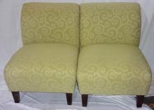 Pair Of Light Green Club Chairs 26x30x33