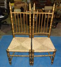 Pair Of Gold Chair With Rush Woven Seats 17x18x49