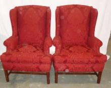 Pair Of Red Upholstered Wingback Chairs 33x31x42