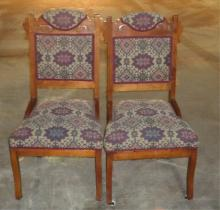Pair Victorian Upholstered Side Chairs Circa 1910 (Good restored condition) 18x15x36