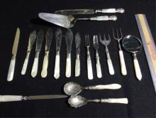 Sterling & Mother Of Pearl 17 Pieces 8 Knifes 4 Forks 2 Spoons 1 Cake Server & Knife 1 Mag. Glass 17 Pieces