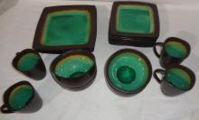Set Of Green & Brown Earthware