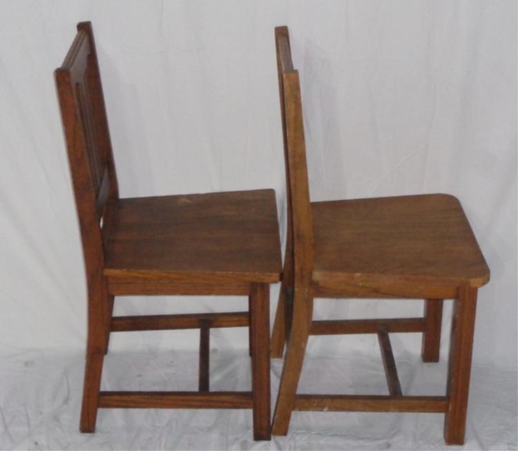 Pair Of Large Wood Classroom Chairs