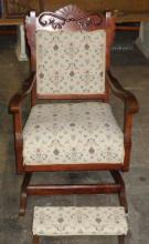 Antique Mahogany Chair & Foot Stool