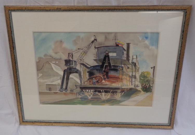Sally Frost Knerr Industrial Scene W/c 1957