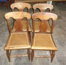 4 Victorian Carved Mixed Wood Chairs (cane Seats)