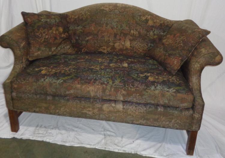 Small Camel Back Sofa W Hunt Scene Tapestry