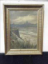 Oil on canvas Berwick across the Tweed