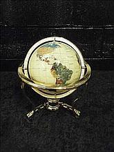 Semi-precious gemstone globe on brass stand CREAM
