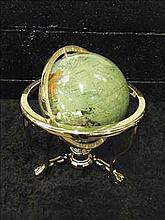 Semi-precious gemstone globe on brass stand GREEN