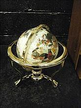 Semi-precious gemstone globe on brass stand WHITE