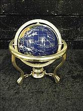 Semi-precious gemstone globe on brass stand BLUE