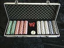 Cased set of poker chips