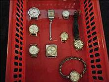 Collection of 9 working vintage ladies watches