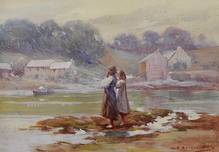 G E BOUTWOOD, figures by a lakeside, watercolour