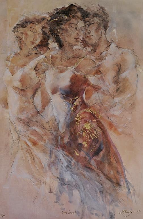 A GARY BENFIELD SILK SCREEN PRINT, Love Secrets,