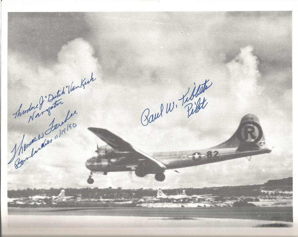 Sold Price: Photo Enola Gay Signed Crew Paul Tibbets Pilot, Dutch Van Virk,  Tom Ferebee. drop the Atomic Bomb on - September 2, 0120 10:00 AM BST