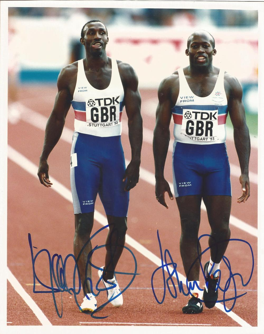 Sport Linford Christie and John Regis 10x8 signed colour photo. John Paul Lyndon Regis, MBE (born 13