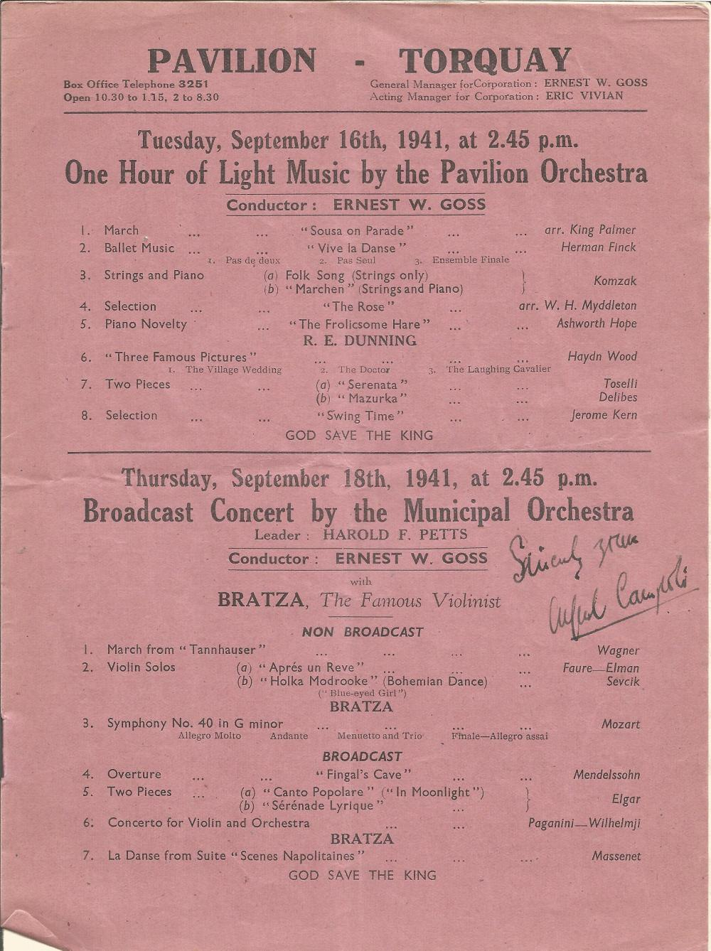 Lot 7 Vintage Music Collection Alfredo Campoli Signed 1941 Programme With Three Unidentified