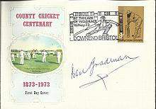 Don Bradman signed 1973 County Cricket FDC. Good