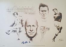 Bobby Charlton signed limited edition print.