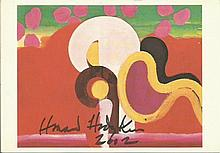 Howard Hodgkin signed on a colour postcard of his