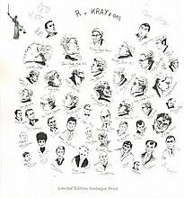 The Krays, Ronnie and Reggie Kray signed print.