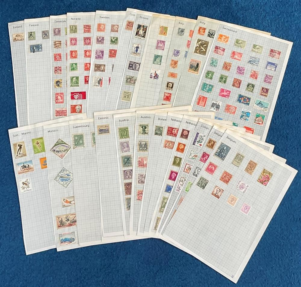 Assorted stamp collection over 24 loose pages. Includes Italy, Switzerland, Greece, Crete,